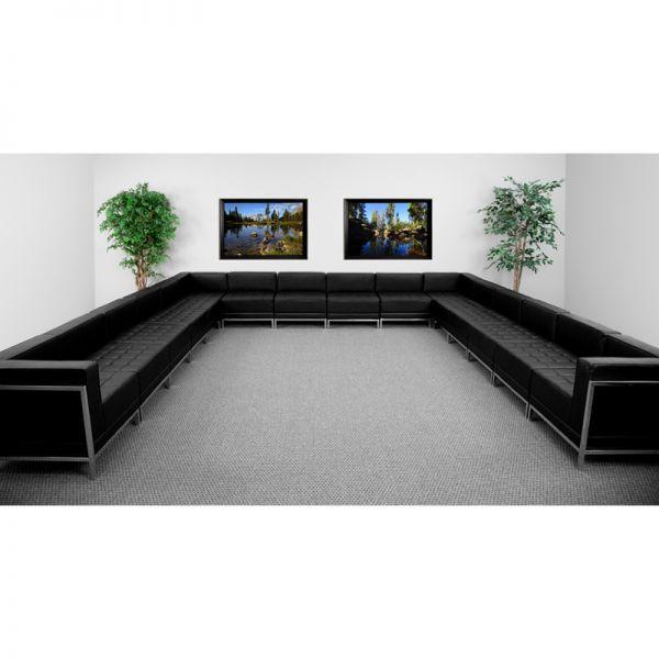 Flash Furniture HERCULES Imagination Series Black Leather U-Shape Sectional Configuration, 16 Pieces