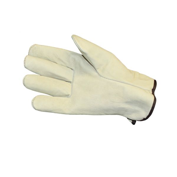 Impact Unlined Grain-Leather Drivers' Gloves, Large, Cream, Dozen