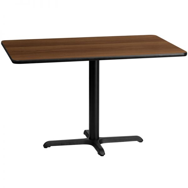 Flash Furniture 30'' x 48'' Rectangular Walnut Laminate Table Top with 22'' x 30'' Table Height Base