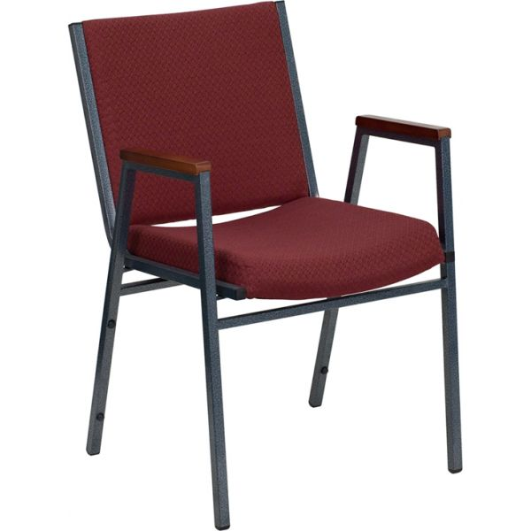 Flash Furniture HERCULES Series Heavy Duty, 3'' Thickly Padded, Burgundy Patterned Upholstered Stack Chair with Arms and Ganging Bracket