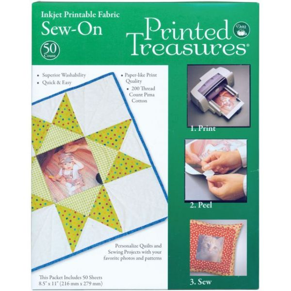 "Printed Treasures Sew-On Ink Jet Fabric Sheets 8.5""X11"" Bulk"