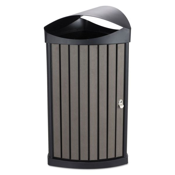 Safco Indoor/Outdoor Receptacle, 20 gal, Charcoal Resin Panels