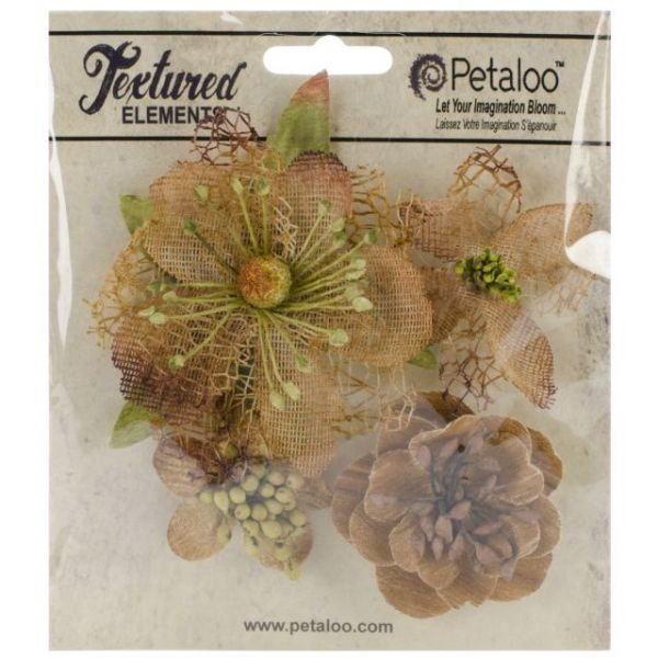 "Mixed Textured Blossoms 1.25"" To 2.5"" 4/Pkg"