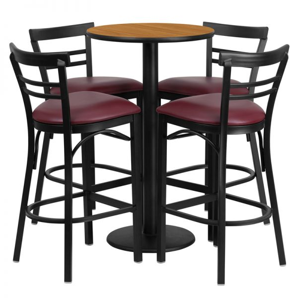 Flash Furniture 24'' Round Natural Laminate Table Set with 4 Ladder Back Metal Barstools - Burgundy Vinyl Seat