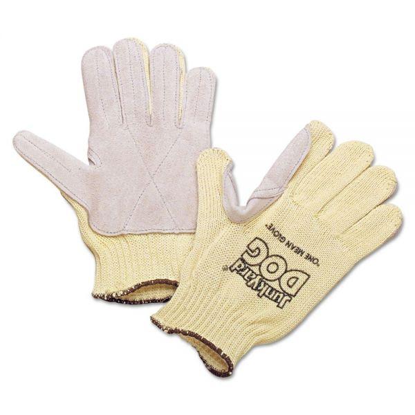 Honeywell Men's Junk Yard Dog Kevlar Gloves, Leather Palm, Yellow