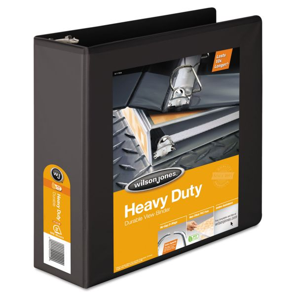 "Wilson Jones Heavy-Duty 3-Ring View Binder w/Extra-Durable Hinge, 3"" Capacity, D-Ring, Black"