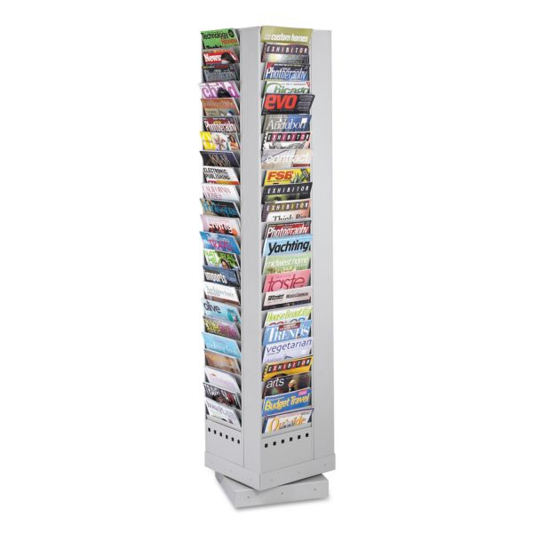 Safco 92 Pockets Steel Rotary Magazine Rack