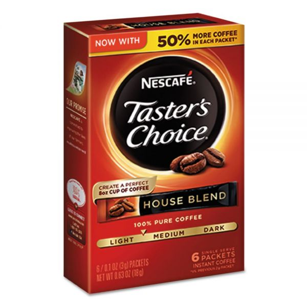 Nescafé Taster's Choice House Blend Instant Coffee, 0.1oz Stick, 6/Box, 12Box/Carton