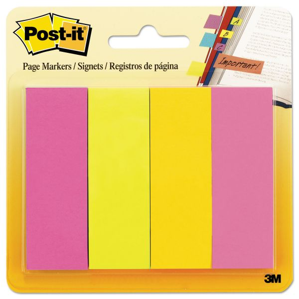 Post-it Page Flag Markers, Assorted Brights, 50 Strips/Pad, 4 Pads/Pack