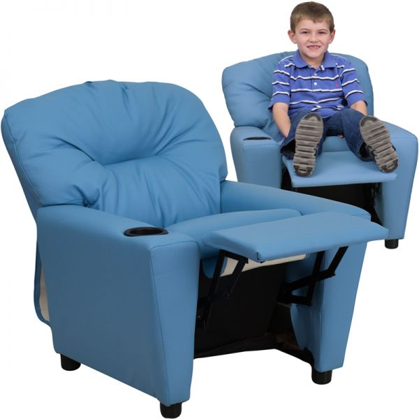 Flash Furniture Contemporary Light Blue Vinyl Kids Recliner with Cup Holder