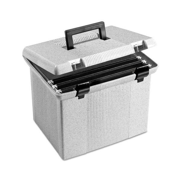Pendaflex Portable File Boxes, Letter, Plastic, 13 7/8 x 14 x 11 1/8, Granite