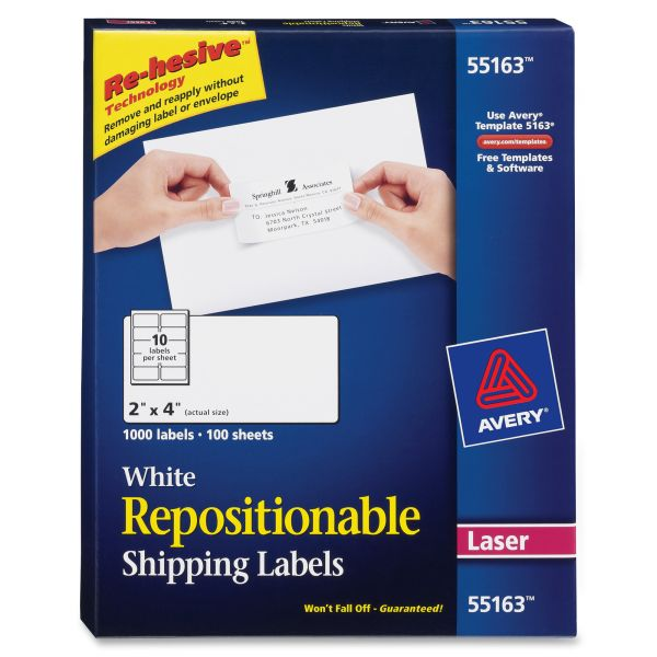 "Avery 55163 Repositionable 2"" x 4"" Shipping Labels"