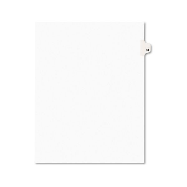 Avery Avery-Style Legal Exhibit Side Tab Divider, Title: 54, Letter, White, 25/Pack