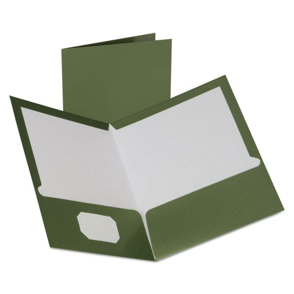 Oxford Two-Pocket Laminated Folder, 100-Sheet Capacity, Metallic Green, 25/Box