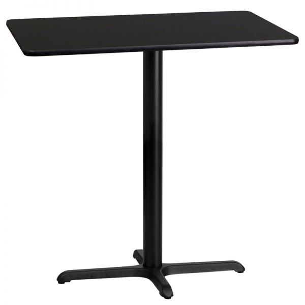 Flash Furniture 24'' x 42'' Rectangular Black Laminate Table Top with 22'' x 30'' Bar Height Table Base