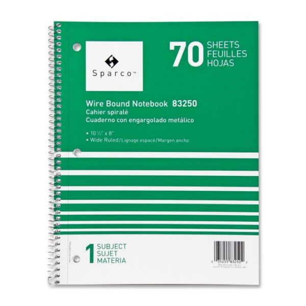 Sparco Wide Ruled Spiral Notebook