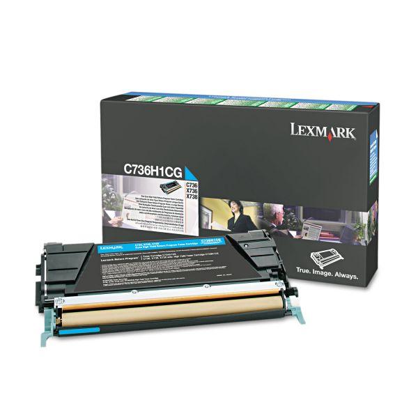 Lexmark C736H1CG Cyan High Yield Return Program Toner Cartridge
