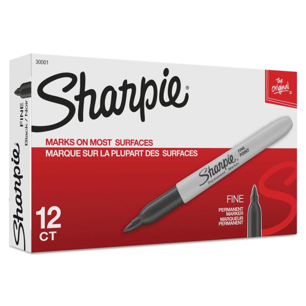 Sharpie Fine Point Permanent Marker, Black, Dozen