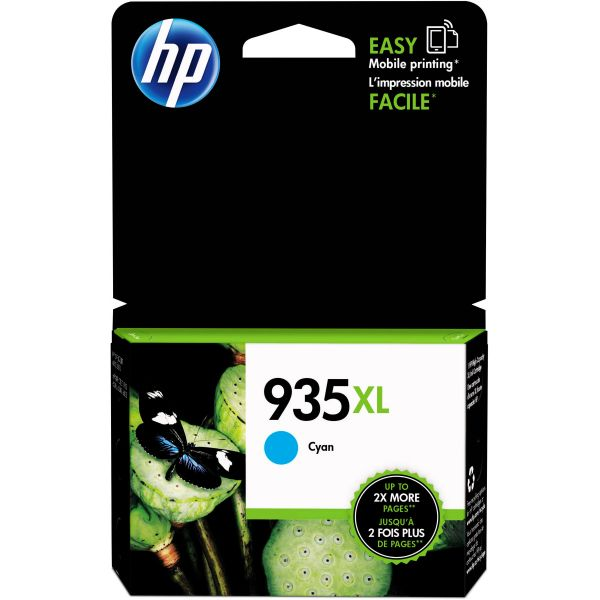HP 935 XL High-Yield Cyan Ink Cartridge (C2P24AN)