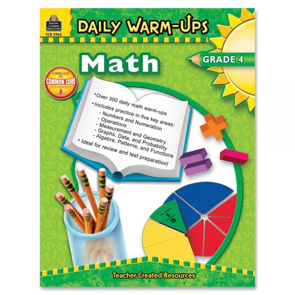 Teacher Created Resources Gr 4 Math Daily Warm-Ups Book Education Printed Book for Mathematics