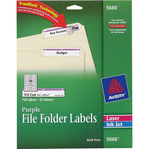 Avery Permanent File Folder Labels, TrueBlock, Inkjet/Laser, Purple Border, 750/Pack