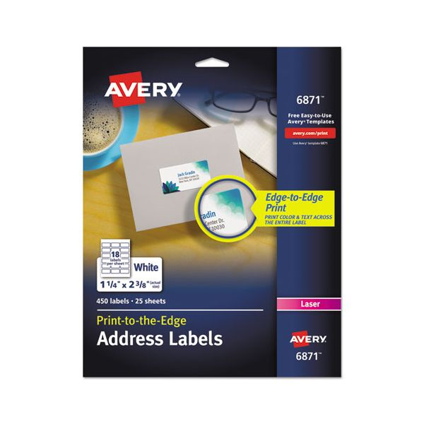 Avery Vibrant Color-Printing Address Labels, 1 1/4 x 2 3/8, White, 450/Pack