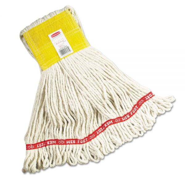 Rubbermaid Commercial Web Foot Wet Mops, Cotton/Synthetic, White, Small, 5-in. Yellow Headband