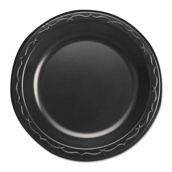 """Genpak Elite Laminated Foam Dinnerware, Plate, 6"""" Dia, Black,125/Pack, 8 Pack/Carton"""