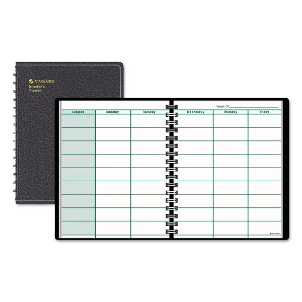AT-A-GLANCE Undated Teacher's Planner, 10 7/8 x 8 1/4, Black