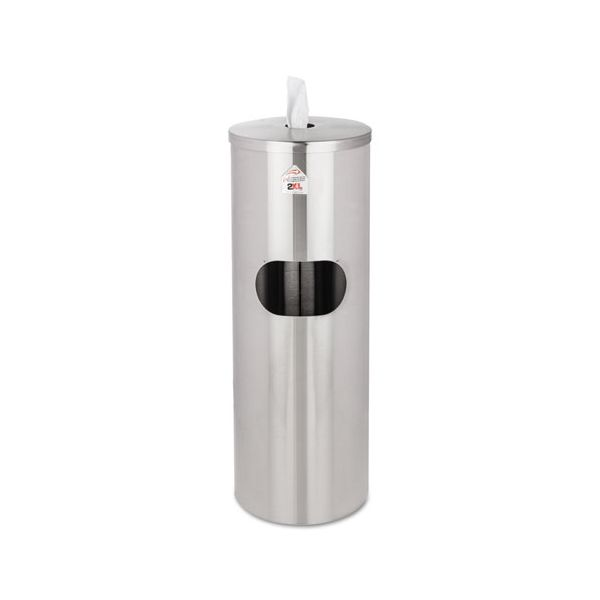 2XL Standing Stainless Wipes Dispener, Cylindrical, 5gal, Stainless Steel