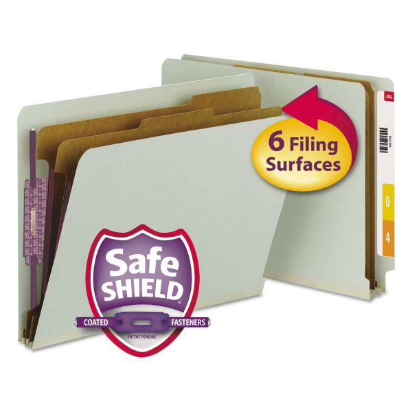 Smead Pressboard End Tab Classification Folder, Letter, 6-Section, Gray/Green, 10/Box