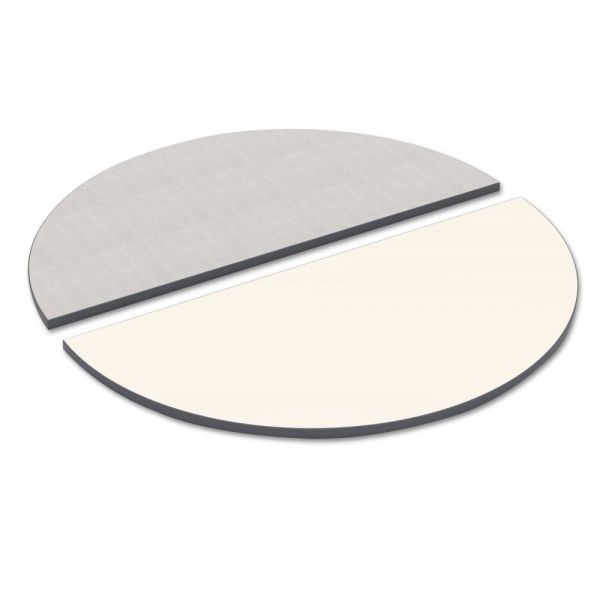 Alera Reversible Laminate Table Top, Half Round, 48w x 24d, White/Gray