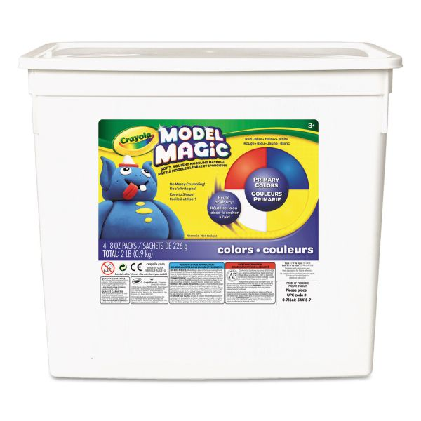 Crayola Model Magic Modeling Compound, 8 oz each Blue/Red/White/Yellow, 2lbs.