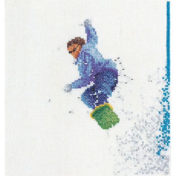 Snowboarder On Linen Counted Cross Stitch Kit