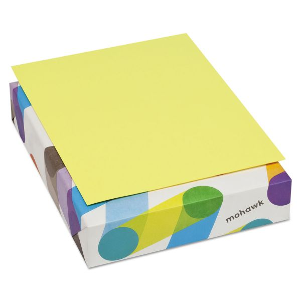 Mohawk BriteHue Multipurpose Colored Paper, 20 lb, 8 1/2 x 11, Ultra Lemon, 500 Sheets/Ream