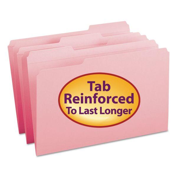 Smead File Folders, 1/3 Cut, Reinforced Top Tab, Legal, Pink,100/Box