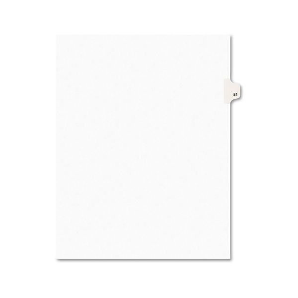 Avery Avery-Style Legal Exhibit Side Tab Divider, Title: 81, Letter, White, 25/Pack