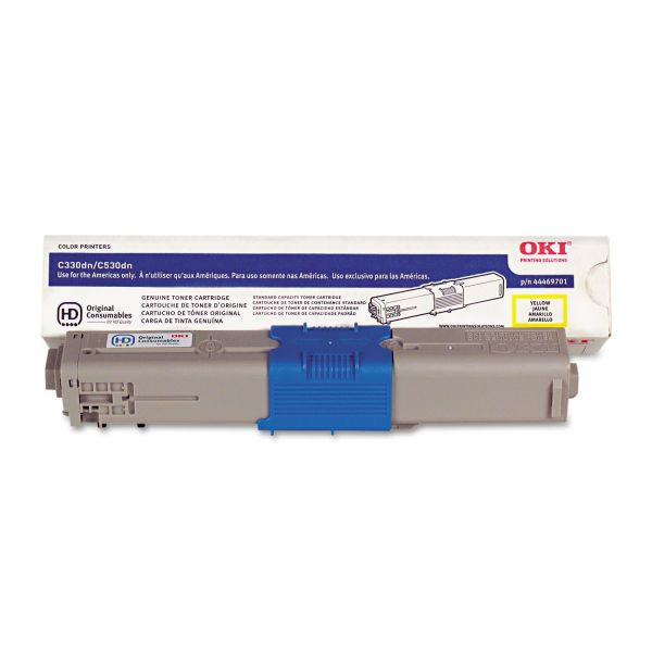 Oki 44469701 Toner, 3,000 Page-Yield, Yellow