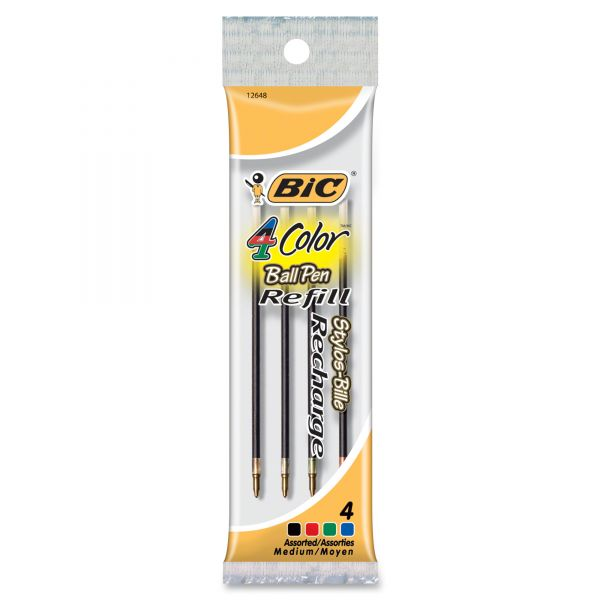BIC Recharge 4-Color Retractable Pen Refills