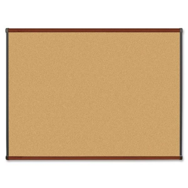 Lorell Mahogany Finish Natural Cork Bulletin Board