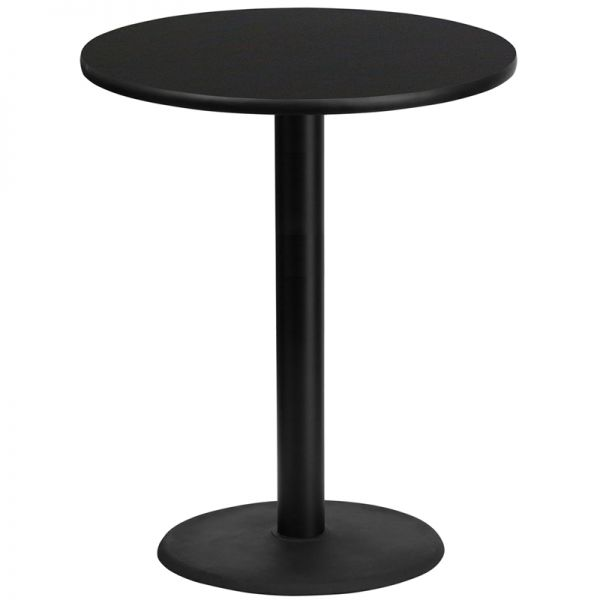 Flash Furniture 36'' Round Black Laminate Table Top with 24'' Round Bar Height Table Base