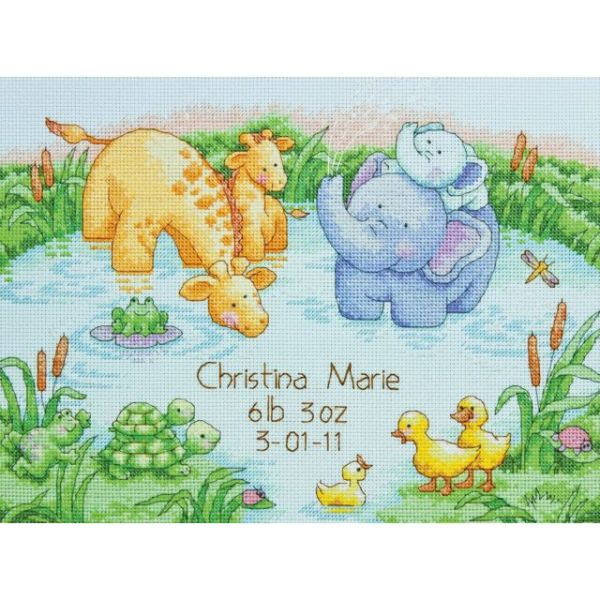Dimensions Little Pond Birth Record Counted Cross Stitch Kit