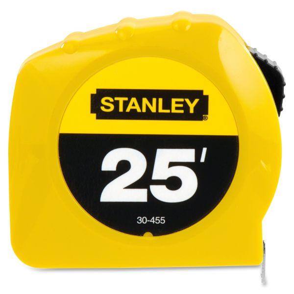 "Stanley Bostitch Power Return Tape Measure, Plastic Case, 1"" x 25ft, Yellow"