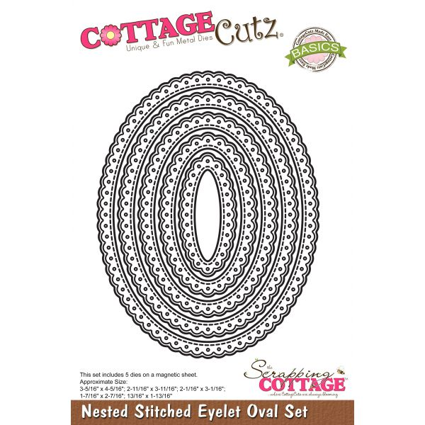 CottageCutz Nested Stitched Eyelet Oval Dies 5/Pkg