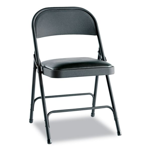 Alera Steel Folding Chair with Two-Brace Support, Padded Seat, Graphite, 4/Carton