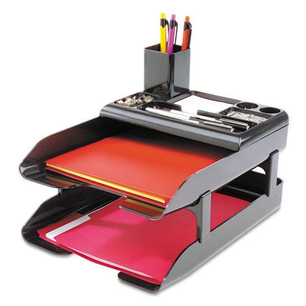 deflecto Corporate Desk Tray Set, Two Tier, Plastic, Metallic Black