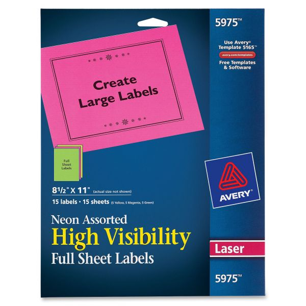 Avery High Visibility Full Sheet Labels
