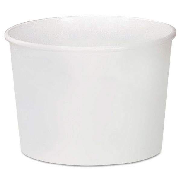Dart Double Poly Paper Food Container, Squat, White, 16 oz, 25/Pack, 20 Packs/Carton