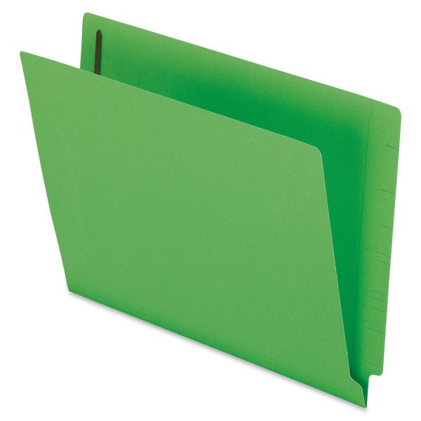 Pendaflex Reinforced End Tab Expansion Folders, Two Fasteners, Letter, Green, 50/Box