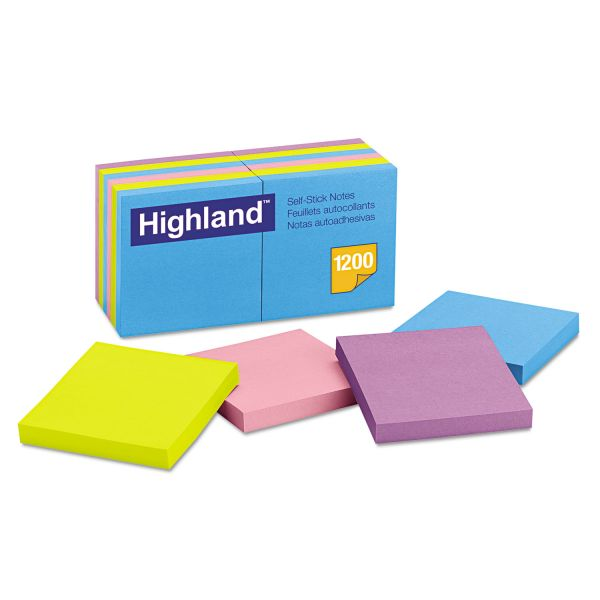 Highland Self-Stick Notes, 3 x 3, Assorted Bright, 100-Sheet, 12/Pack